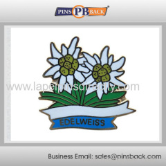 Wholesale metal hard enamel flower lapel pin/zinc alloy lapel pin/ pin badge with butterfly clutch