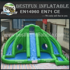 Green Three line Water Slide with Two Pools