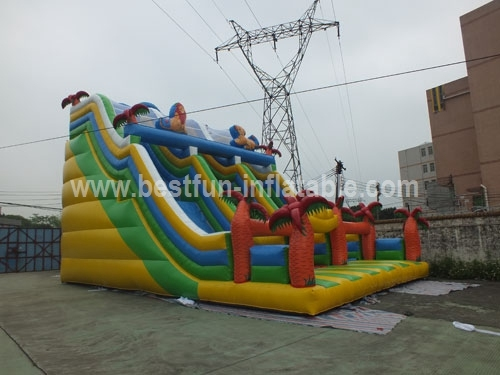 Attractive Jungle Inflatable Slides with Two Lanes