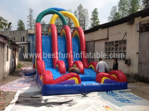 Colorful Inflatable Water Slide with 3 Lines