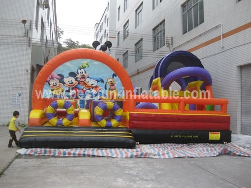 Mickey Theme Inflatable Obstacle Course Amusement Park