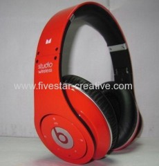 Beats by Dre Studio Wireless Red High Definition Stereo Bluetooth Headphones