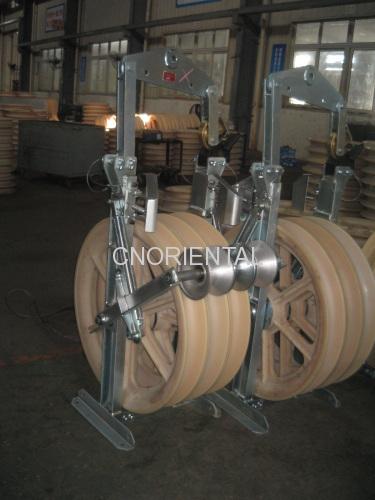 overhead transmission line conductor stringing block