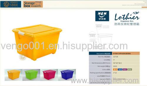 Plastic storage box with wheel