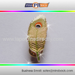 Metal feather shape soft enamel