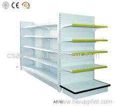 Supermarket gondola shelves display shelves