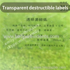 Clear Destructible Label Vinyl Materials,Transparent Eggshell Stickers,Transparent Security Stickers