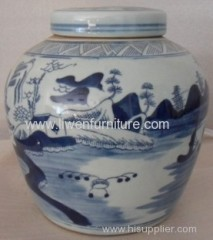 Antique porcelain blue and white pot