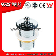 Brass Chrome Plated Waste Drain with Lifting Nut and White Rubber Ring