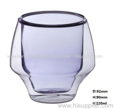 220ml C&C strong double wall glass for juice /milk/cofffee drinking(Different color according t o clients' request)