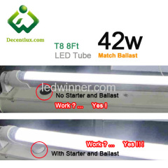 8ft ballast led tube,electronic ballast led tube 8ft,work with ballast and starter