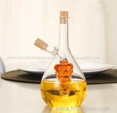 C&C exquisite borosilicate pure hand blown glass cruet for oil and vinegar storage