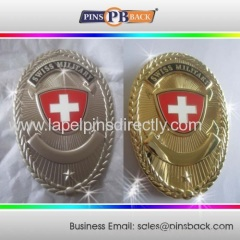 Custom 3d die casting lapel pin with plating silver and gold