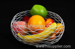 round metal wire mesh fruit basket
