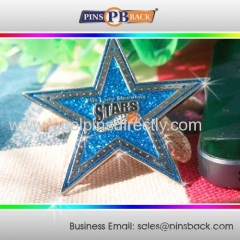 Silver Plated Five Star Shape Lapel Pins Badge / Lapel Pin With Glitters/Custom die casting five star lapel pin