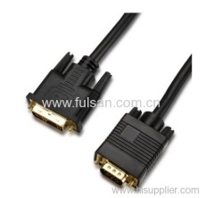 Gold Plated DVI to VGA Cable with Two ferrite cords