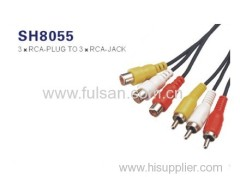 Audio and video 3 RCA cable male to male