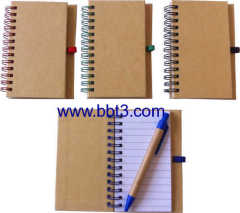 Promotional pocket eco paper notepad with eco ballpen