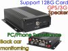 4CH real time H.264 car DVR, support 1PCS SD card Max 128G, support 3G&GPS function, built-in GPS module, 4CH video&audi