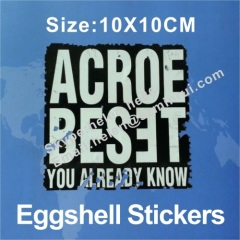 10x10cm eggshell stickers on sheets