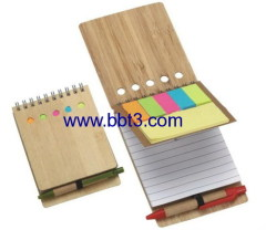 Promotional pocket bamboo cover eco notepad with sticky notes