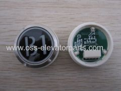 Push button round black plastic cover red light B2