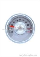 Round bimetal heater thermometer