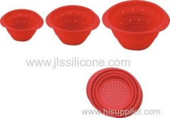 Round fruit Folding silicone bowl