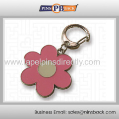 Custom metal die cut keychains/flower key chain/cheap keyholder / soft enamel / silver plated