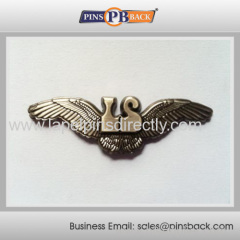 Metal zinc alloy die casting badge for promotion / silver plated / 1.25 inch