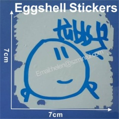 So Cute Blue Color Printed Arts Egg Shell Sticker Label,7x7 cm Size Eggshell Stickers Customized