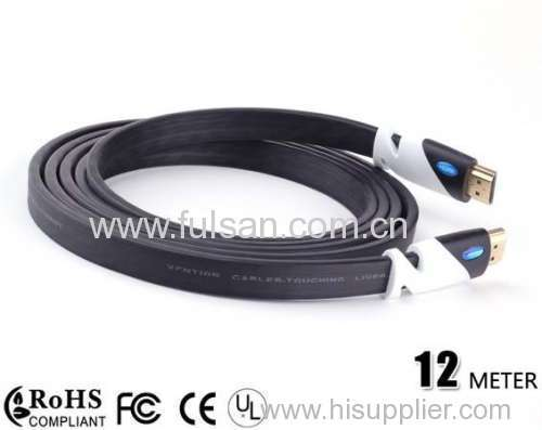 High Speed 12m 1.4a HDMI Flat Cable 1.4V 1080P HD w/ Ethernet 3D HDTV new