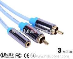 3.5mm stereo audio cable/3.5mm female to 2RCA male