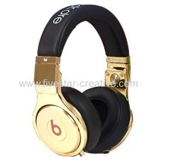 Cheap Monster Beats by Dr.Dre Pro 24K Black with Gold Noise Cancelling Headphones