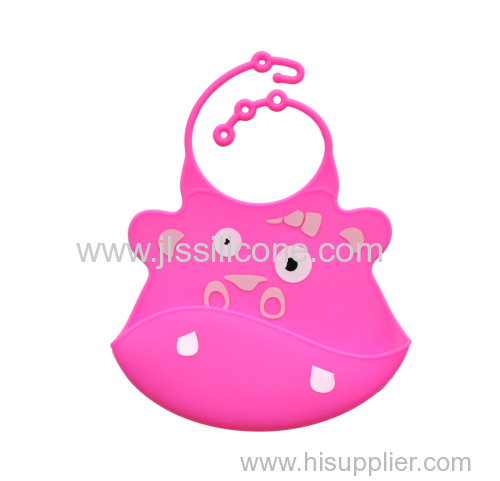 Red cute child silicone baby bibs