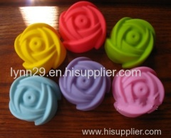 7cm diameter rose shaped min silicone muffin cup