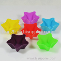 7cm diameter five star designs silicone muffin cups