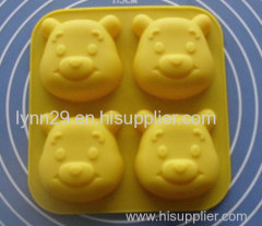 4 cavities Winnie cartoon design silicone jelly cake mould for kids