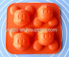 4 cavities Winnie cartoon design silicone mickey cake mould