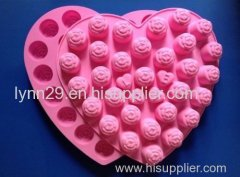 New Design heart rose shaped with love silicone cake mold
