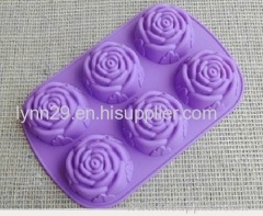 new design 6 cavities flower shape silicone cupcake mould