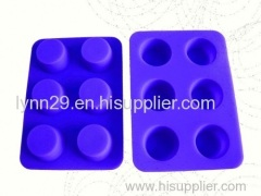 new design 6 cavities round shape silicone muffin mould