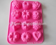 environmentally friendly 12 holes flowers silicone cake mould