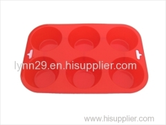 new design 6 cavities round shape microwave silicone muffin mould