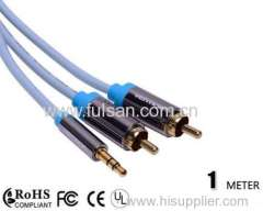 Gold Plated Y Cable 3.5mm Male to 2 RCA Cable 1m 3ft