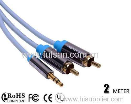 2m Stereo 3.5mm to 2RCA cable good av cable 3.5mm stereo to 2rca cable