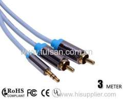 3.5mm to 2 RCA Audio cable DC 3.5mm to Stereo 2 RCA Cable