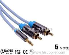 Metal Shell Gold-Plated 2RCA to DC 3.5mm Audio Video Cable