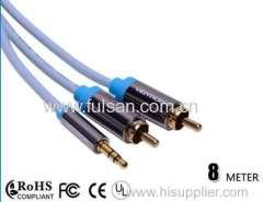 Высокое качество 8 м 3,5 мм стерео на 2RCA кабель / аудиокабель