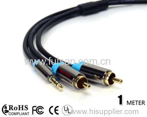 High quality 3.5mm Stereo to 2RCA Cable/Audio cable